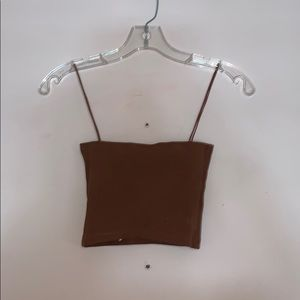 Zara brown rubbed crop top with bungee straps